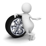 Abstract White 3d Man With Auto Tire Wheel Royalty Free Stock Image
