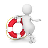 Abstract White 3d Man With Red Life Buoy Stock Images