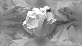 Abstract white 3d object, inside of polygonal interior. Abstract white 3d object, flying inside of chaotic polygonal structured empty interior Royalty Free Illustration
