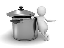 Abstract White 3d Person With saucepan Stock Images