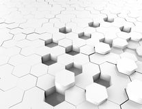 Abstract white 3D render hexagonal geometric structure background Royalty Free Stock Photos