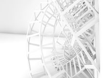 Abstract white digital background, 3d wire shape Stock Images