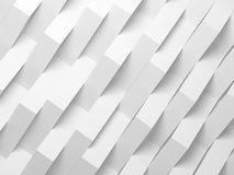 Abstract white digital background, 3d. Abstract white digital background pattern, corners of paper stripes over wall. 3d render illustration Stock Photography