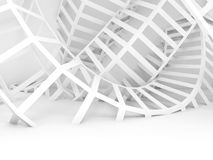 Abstract white digital background, twisted wire 3d Royalty Free Stock Image