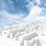 Abstract white digital 3d cityscape with clouds. Abstract white digital 3d cityscape with natural bright cloudy sky on a background Stock Image