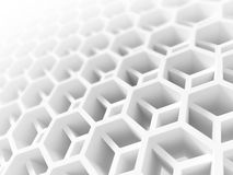 Abstract white double honeycomb structure. Abstract white honeycomb structure. 3d illustration, background texture Royalty Free Stock Images