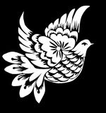 Abstract white dove on black vector illustration