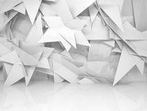 Abstract white empty 3d interior with chaotic triangle pattern. Abstract white empty 3d interior with chaotic triangle polygonal pattern on the wall Royalty Free Stock Photos