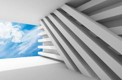 Abstract white empty interior background 3d. Abstract white empty interior with blue cloudy sky in empty window opening. 3d illustration Royalty Free Stock Image