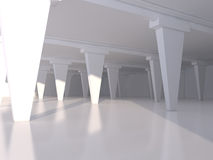 Abstract white empty interior background 3D rendering Royalty Free Stock Image