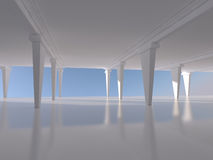 Abstract white empty interior background 3D rendering Stock Photography