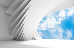 Abstract white empty interior 3d. Abstract white empty interior with geometric installation and blue cloudy sky in window opening. 3d illustration Royalty Free Stock Images