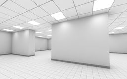 Abstract white empty office interior with column. Ceiling lights and floor tiling, 3d illustration stock illustration