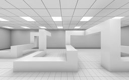 Abstract white empty office interior 3d render. Abstract white empty office interior with chaotic geometric construction, 3d illustration royalty free illustration