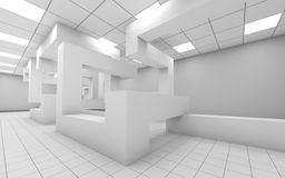 Abstract white empty office interior 3d. Abstract white empty office room interior with chaotic geometric construction, 3d render illustration vector illustration