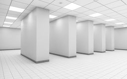 Abstract white empty office interior 3 d. Abstract white empty office room interior with columns in a row, ceiling lights and square floor tiling, 3d vector illustration