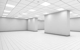 Abstract white empty office room interior with column. Ceiling lights and floor tiling, 3d illustration royalty free illustration