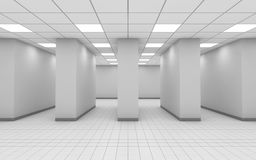 Abstract white empty office room interior 3 d. Abstract white empty office room interior with columns in a row, square ceiling lights and floor tiling, 3d royalty free illustration