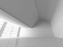 Abstract White Empty Room With Big Windows. Architecture Backgro. Und. 3d Render Illustration Royalty Free Stock Images