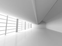 Abstract White Empty Room With Big Windows. Architecture Backgro. Und. 3d Render Illustration Royalty Free Stock Photography