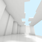 Abstract white empty room interior background. Digital 3d illustration Stock Image