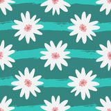Abstract white flowers on striped turquoise background. Grunge, sketch, watercolour. Vector illustration royalty free illustration