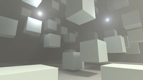 Abstract white flying cubes in fog warehouse space 3d illustration. Abstract white flying cubes in fog warehouse space 3d render Stock Photography
