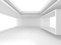 Abstract White Geomatric Interior Background. 3d Render Illustration Stock Photo