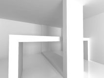 Abstract White Geomatric Interior Background. 3d Render Illustration Royalty Free Stock Photo