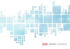 Abstract white geometric square border on blue blur bokeh background stock illustration