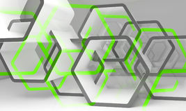 Abstract white green hexagonal structures. Abstract hexagonal structures with green sections. Computer graphic background useful as a wallpaper image. Double vector illustration