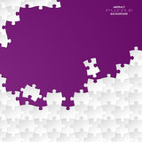 Abstract white group puzzle with violet  backgroun. D vector eps 10 Royalty Free Stock Image
