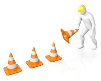 Abstract white guy places road cones Stock Photography