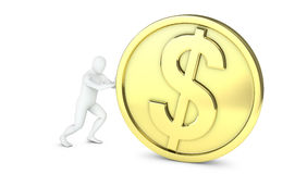 Abstract white guy rolls large golden coin Stock Images