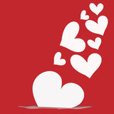 Abstract white heart on red  background Royalty Free Stock Photo