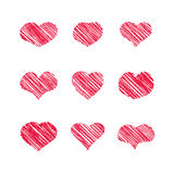 Abstract white heart shapes set Royalty Free Stock Photos