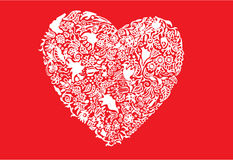 Abstract white heart unique red background Royalty Free Stock Photo