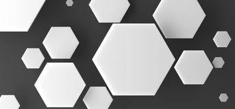 Abstract White Hexagon Background. 3D Rendering Of Abstract White Hexagon Background Top View Royalty Free Stock Photos