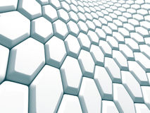 Abstract White Hexagon Pattern Blocks Wall Background. 3d Render Illustration Royalty Free Stock Images