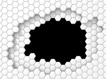 Abstract White Hexagon Pattern Blocks Wall Background. 3d Render Illustration Royalty Free Stock Photo