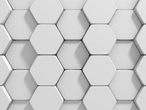 Abstract White Hexagon Pattern Blocks Wall Background. 3d Render Illustration Stock Images