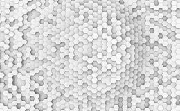 Abstract white hexagonal cells wall. 3D rendering background Royalty Free Stock Photography