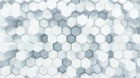 Abstract White Hexagonal Waving Surface Sci-Fi Background, 3d Loopable Animation 4k