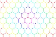 Abstract white honeycomb and hexagonal pattern with rainbow colo. Ur for background royalty free illustration