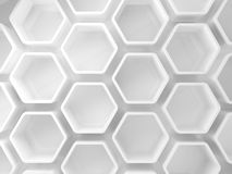 Abstract white honeycomb installation, 3d. Illustration Stock Photography