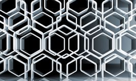Abstract white honeycomb pattern over wall. Abstract white honeycomb ornamental background, blue toned 3d illustration Royalty Free Stock Photo