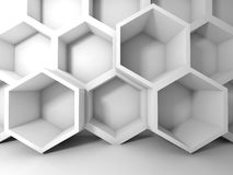 Abstract white honeycomb structure on the wall. 3d interior background Stock Photos