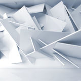 Abstract white interior background 3 d. Abstract white interior background, installation of chaotically square blocks on the wall of empty room. Blue toned 3d stock illustration