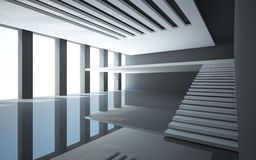 Abstract white interior with balcony Royalty Free Stock Image