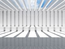 Abstract white interior, cg background 3d. Abstract white interior, cg background. Room with ceiling illumination and striped pattern of shadows and light beams stock illustration